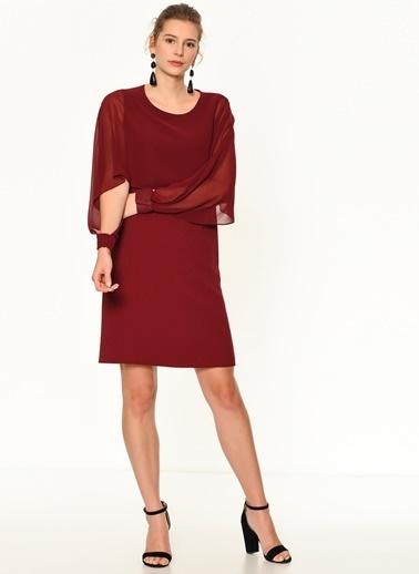 Random Tül Detaylı Kolu Gipeli Elbise Bordo